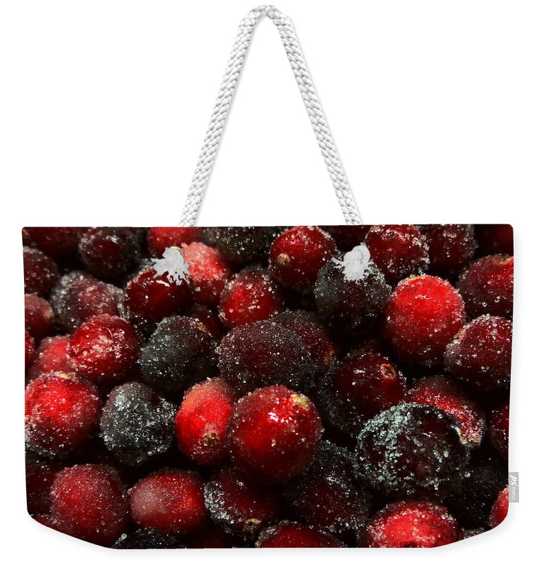 Joseph Skompski Weekender Tote Bag featuring the photograph Sugared Cranberries by Joseph Skompski