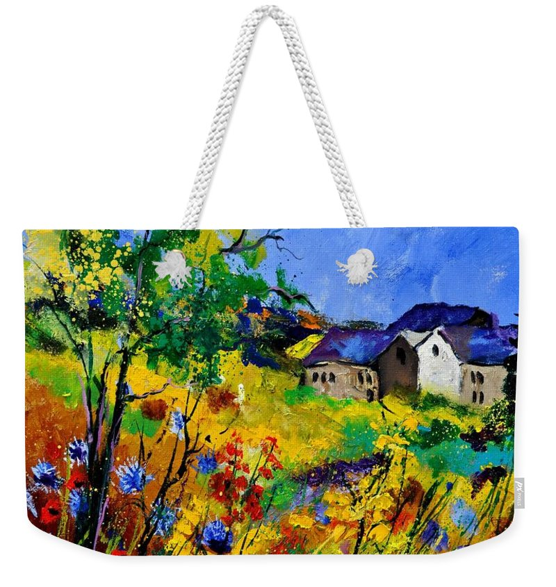 Landscape Weekender Tote Bag featuring the painting Summer 673180 by Pol Ledent