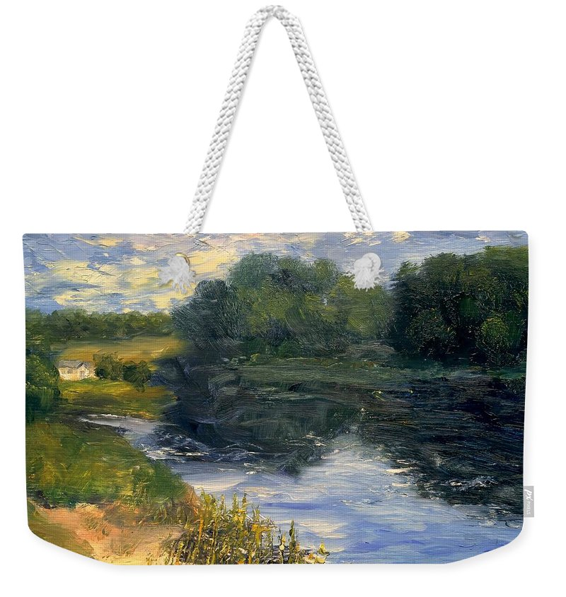 Landscape Weekender Tote Bag featuring the painting Summer At Jackson Lake by Gail Kirtz