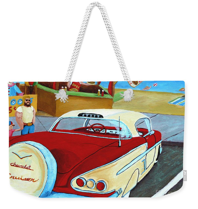 Beach Weekender Tote Bag featuring the painting Cruising The Beach by Anthony Dunphy