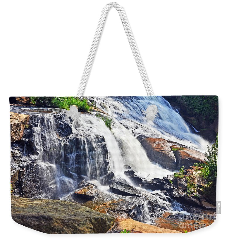 Travel Weekender Tote Bag featuring the photograph Summer At The Falls by Elvis Vaughn