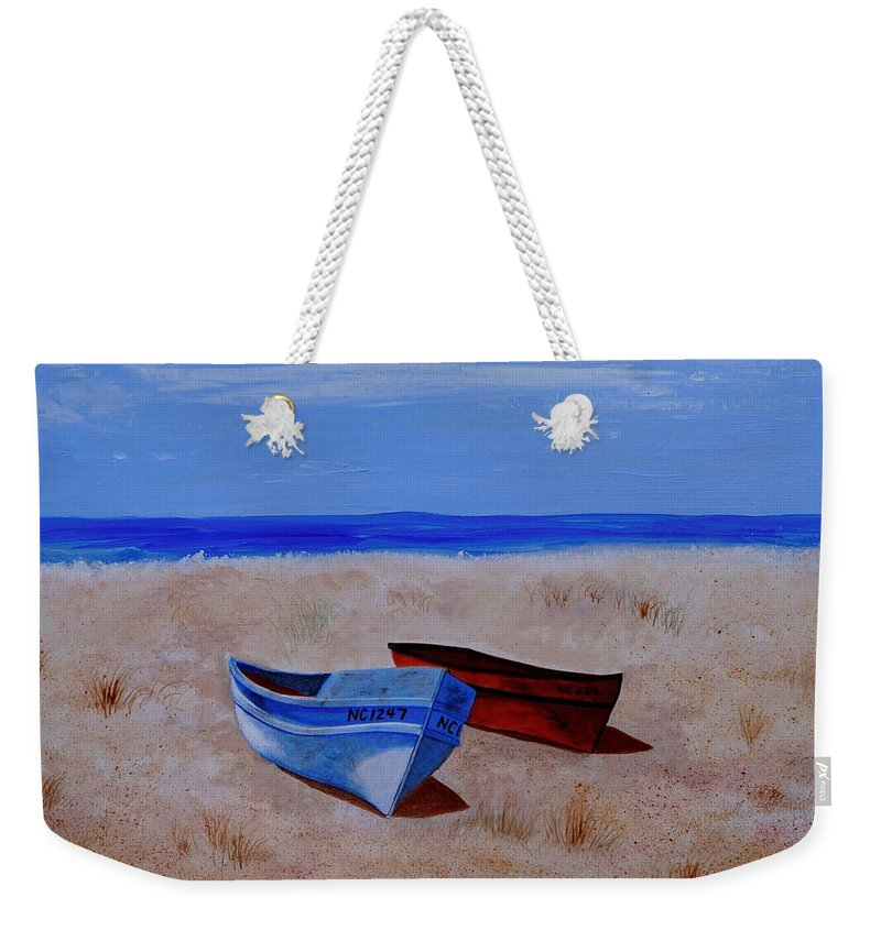 Boat Weekender Tote Bag featuring the painting Summer Boats by Van Bunch