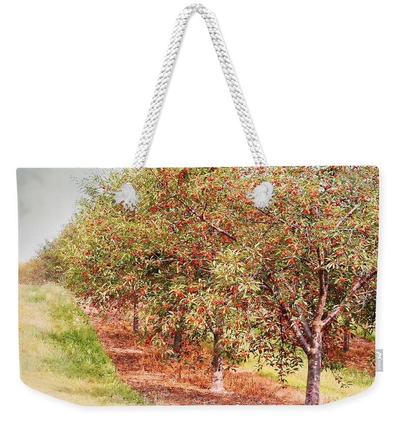 Cherries Weekender Tote Bag featuring the photograph Summer Cherries by Angie Rea