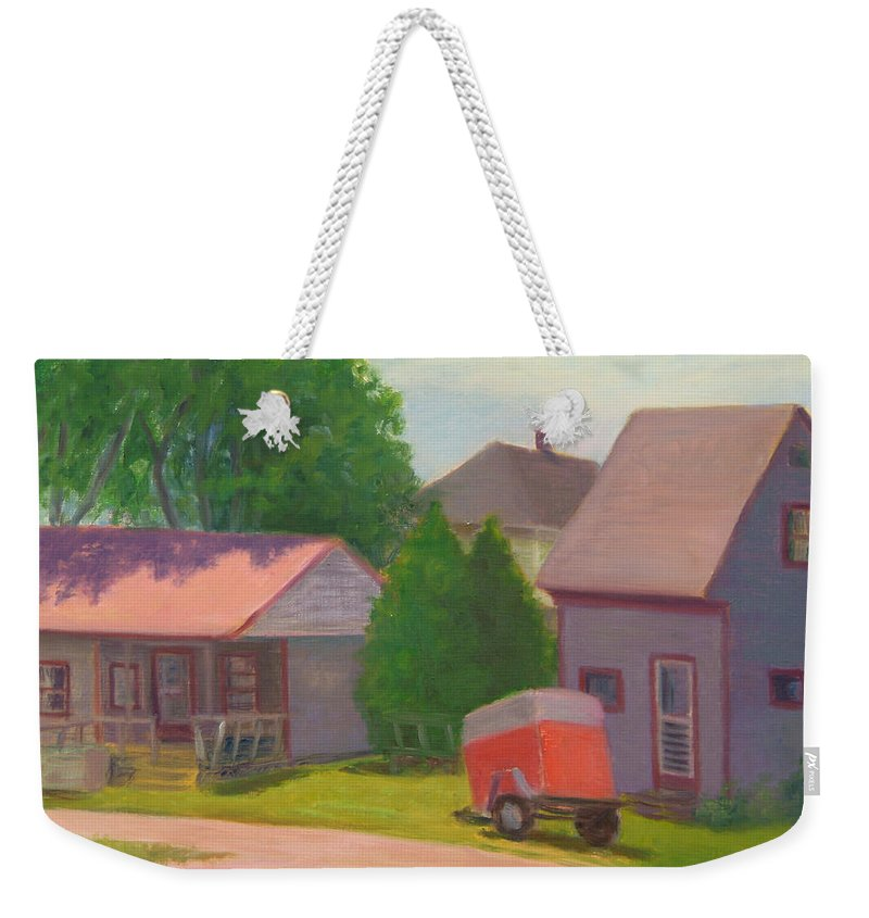 Landscape Weekender Tote Bag featuring the painting Summer Cottages Maine by Phyllis Tarlow