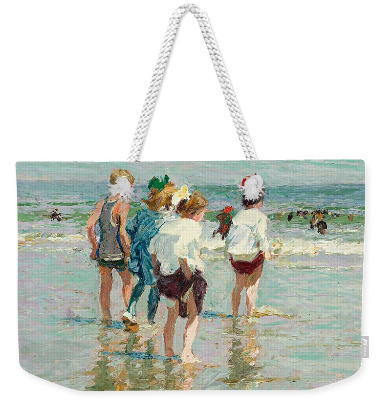 Edward Henry Potthast Weekender Tote Bag featuring the painting Summer Day Brighton Beach by Edward Henry Potthast