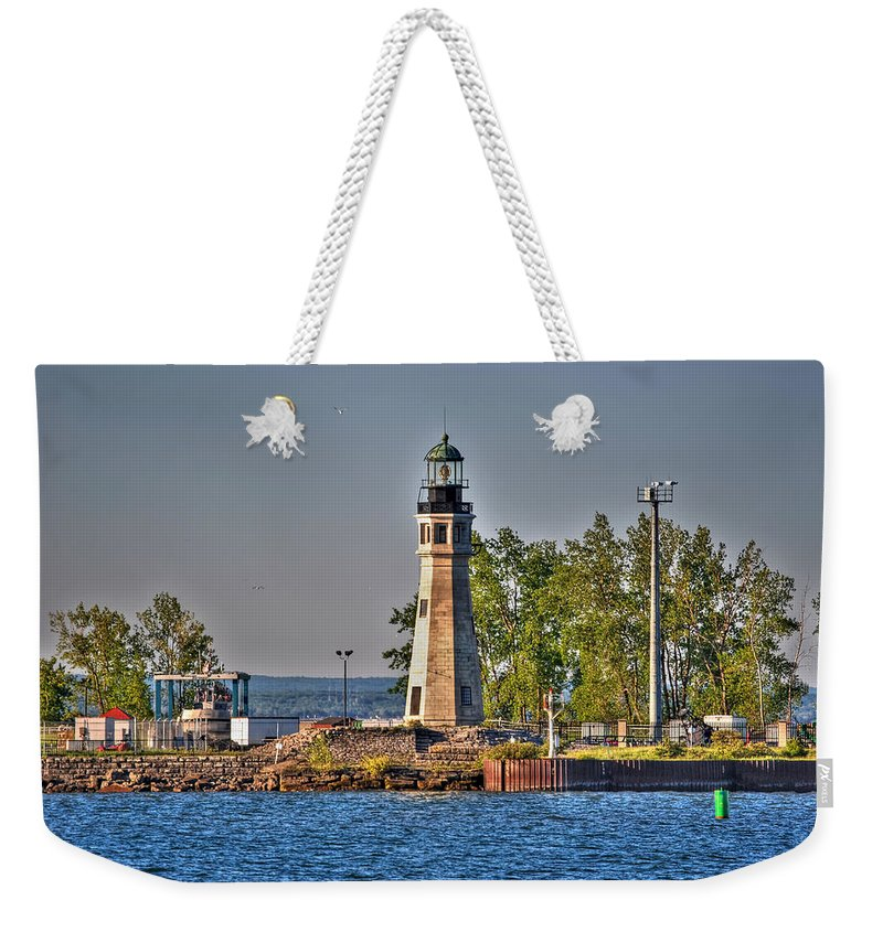 Lighthouse Weekender Tote Bag featuring the photograph Summer Day View Of The Lighthouse by Michael Frank Jr