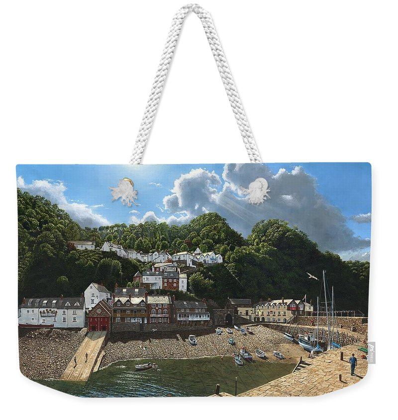 Landscape Weekender Tote Bag featuring the painting Summer Evening Clovelly North Devon by Richard Harpum
