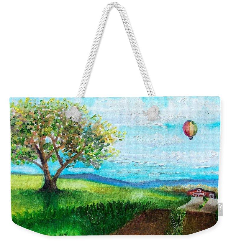 Summer Weekender Tote Bag featuring the painting Summer Flight 2 by Shana Rowe Jackson