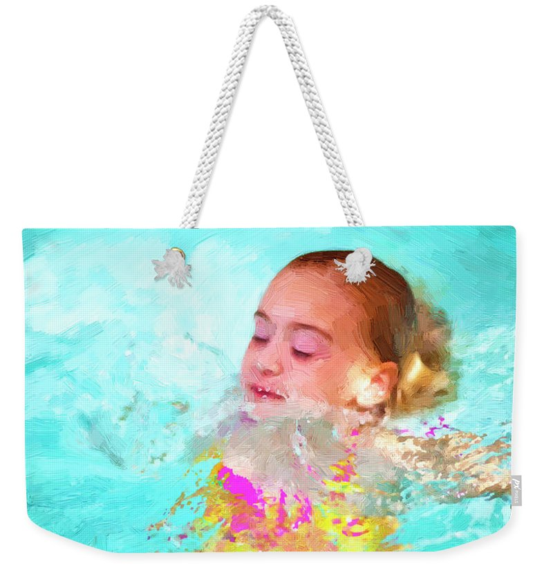 Swim Weekender Tote Bag featuring the photograph Summer Fun by Angela Stanton