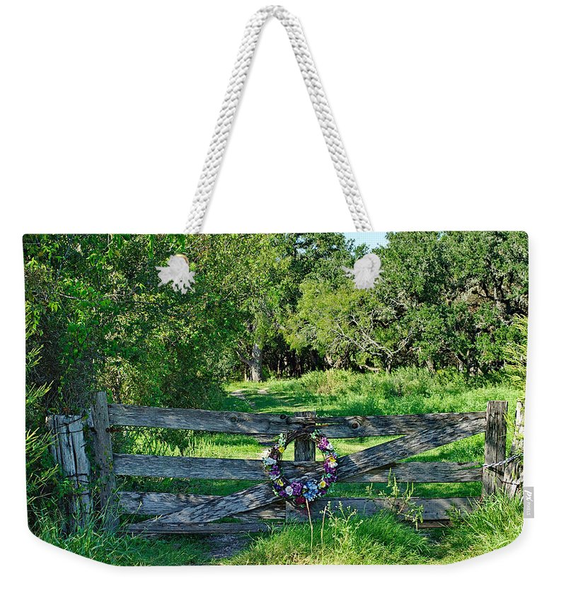 Gate Weekender Tote Bag featuring the photograph Summer Gate by Gary Richards