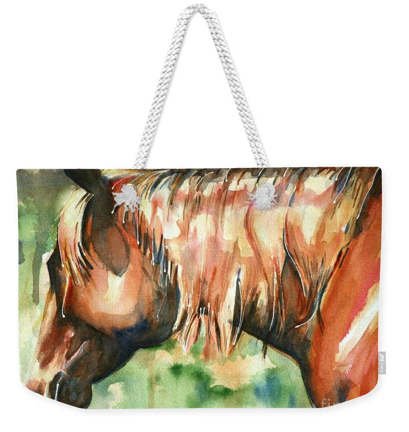 Horse Art Weekender Tote Bag featuring the painting Horse Painting In Watercolor Summer Horse by Maria's Watercolor