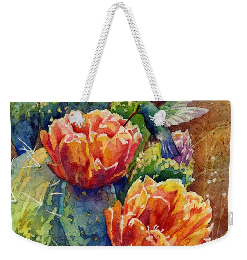 Cactus Weekender Tote Bag featuring the painting Summer Hummer by Hailey E Herrera