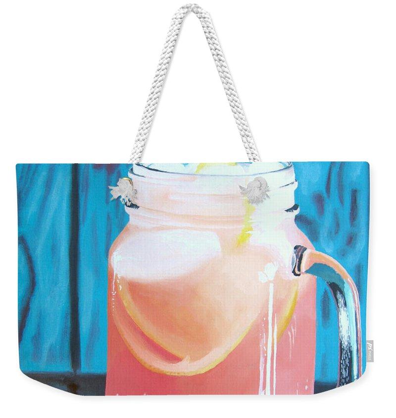 Grapefruit Weekender Tote Bag featuring the painting Summer In A Mug by Kayleigh Semeniuk