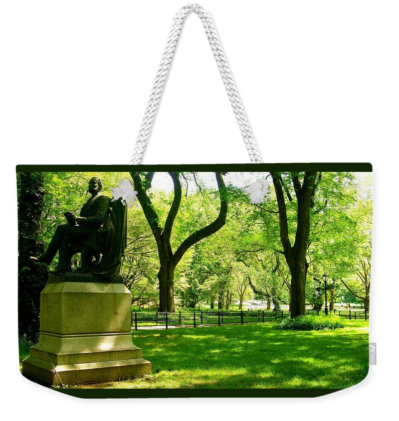 Central Park Prints Weekender Tote Bag featuring the photograph Summer In Central Park Manhattan by Monique's Fine Art