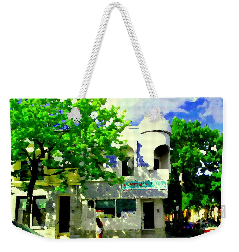 Connie's Pizza Weekender Tote Bag featuring the painting Summer In Psc Pizza At Connie's Pizzaria And Hamburgers City Scene Sud Ouest Montreal Carole Spandau by Carole Spandau