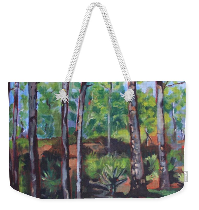Landscape Weekender Tote Bag featuring the painting summer in Saint Andrews Park by Jan Bennicoff