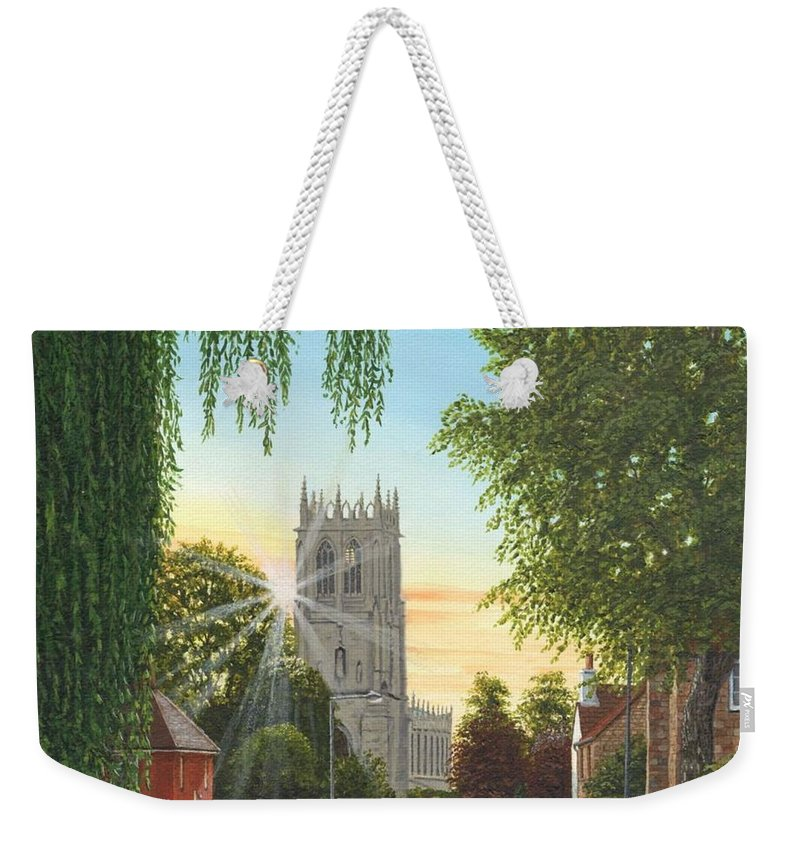 Landscape Weekender Tote Bag featuring the painting Summer Morning St. Mary by Richard Harpum