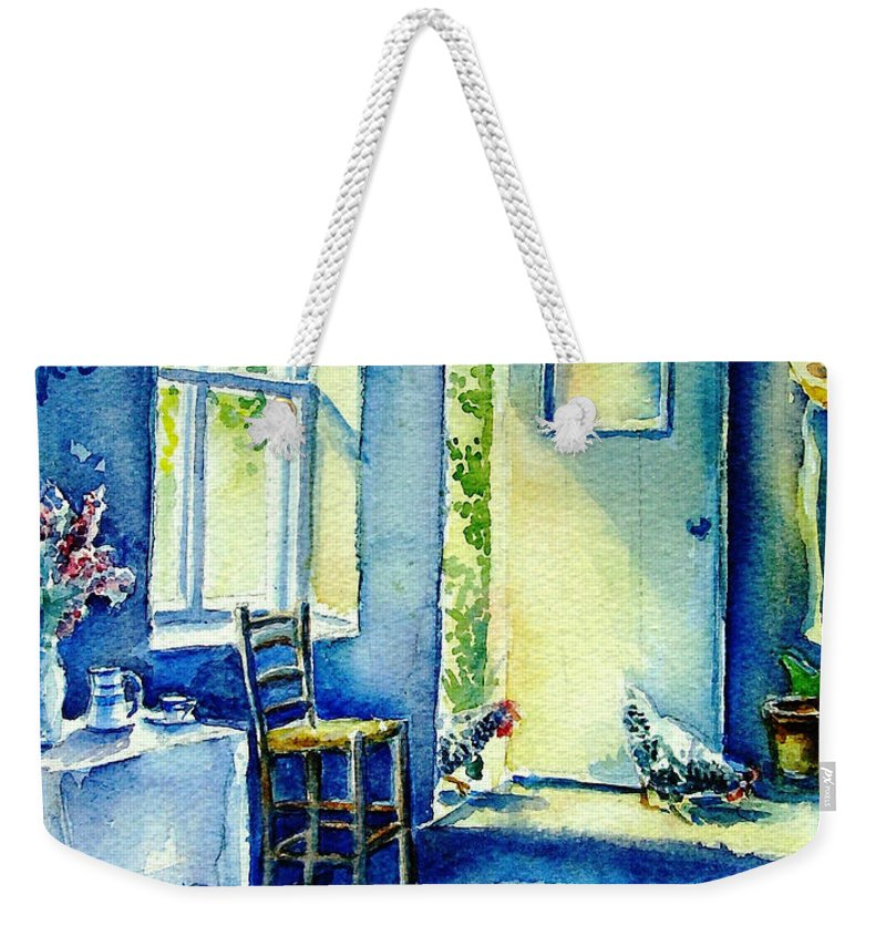 Summer Morning Weekender Tote Bag featuring the painting Summer Morning Visitors by Trudi Doyle
