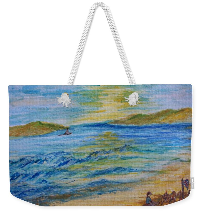 Seascape Weekender Tote Bag featuring the painting Summer/ North Wales by Teresa White