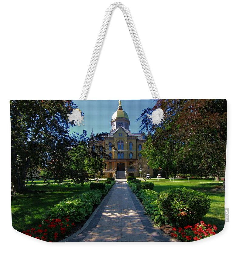Summer On Notre Dame Campus Weekender Tote Bag featuring the photograph Summer On Notre Dame Campus by Dan Sproul