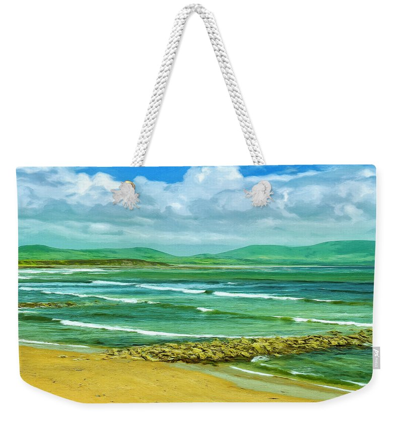 Ireland Weekender Tote Bag featuring the painting Summer On The Irish Coast by Dominic Piperata