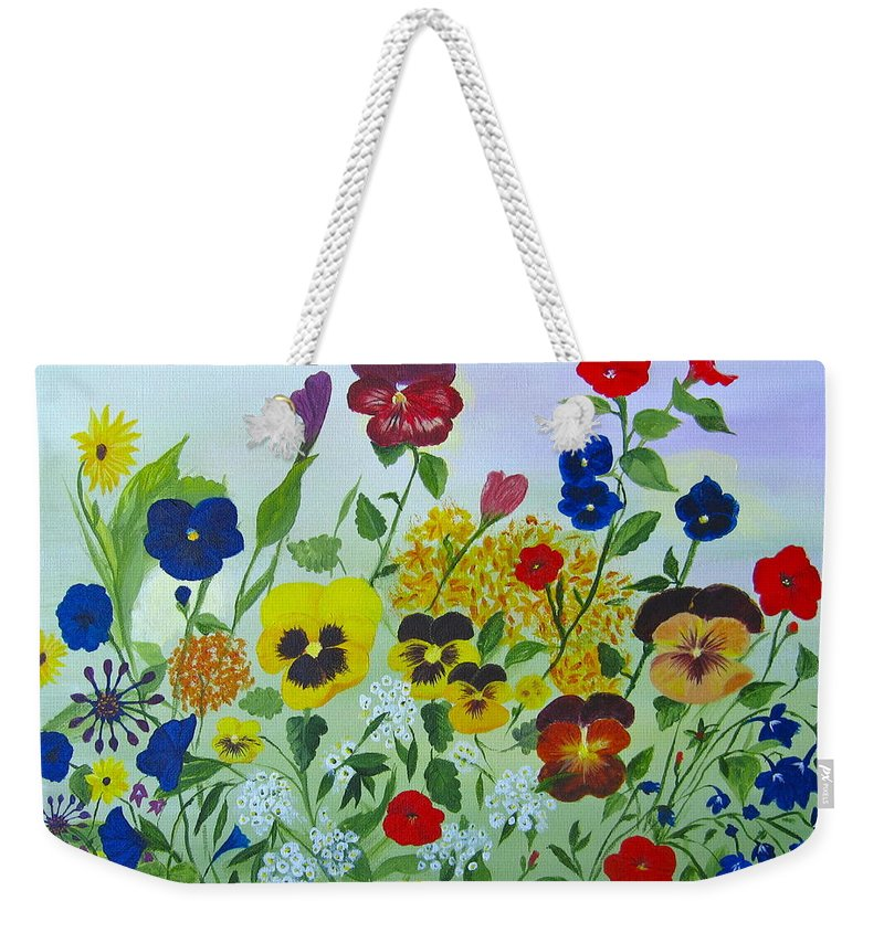 Pansies Weekender Tote Bag featuring the painting Summer Smiles by Alicia Fowler