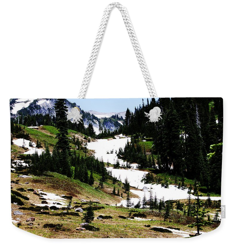 Mt. Rainier Weekender Tote Bag featuring the photograph Summer Snow by Edward Hawkins II