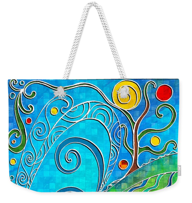 Summer Weekender Tote Bag featuring the drawing Summer Solstice by Shawna Rowe