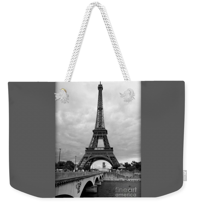Architecture Weekender Tote Bag featuring the photograph Summer Storm Over The Eiffel Tower by Carol Groenen