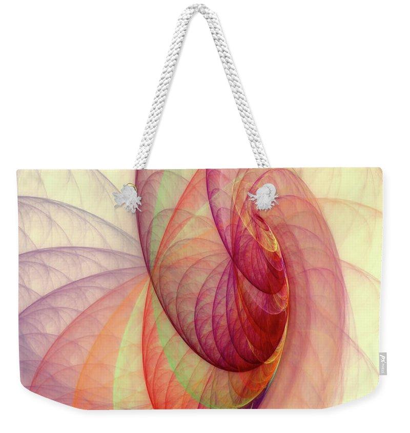 Fractal Weekender Tote Bag featuring the digital art Summer Sun by Angela Stanton