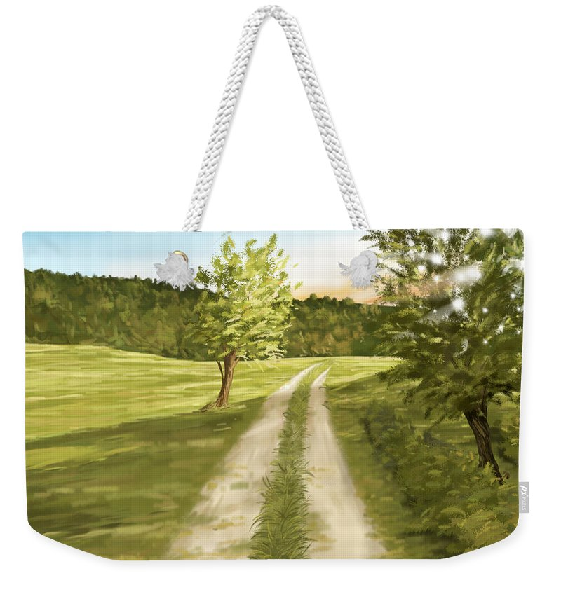 Nature Weekender Tote Bag featuring the painting Summer Sunset by Veronica Minozzi