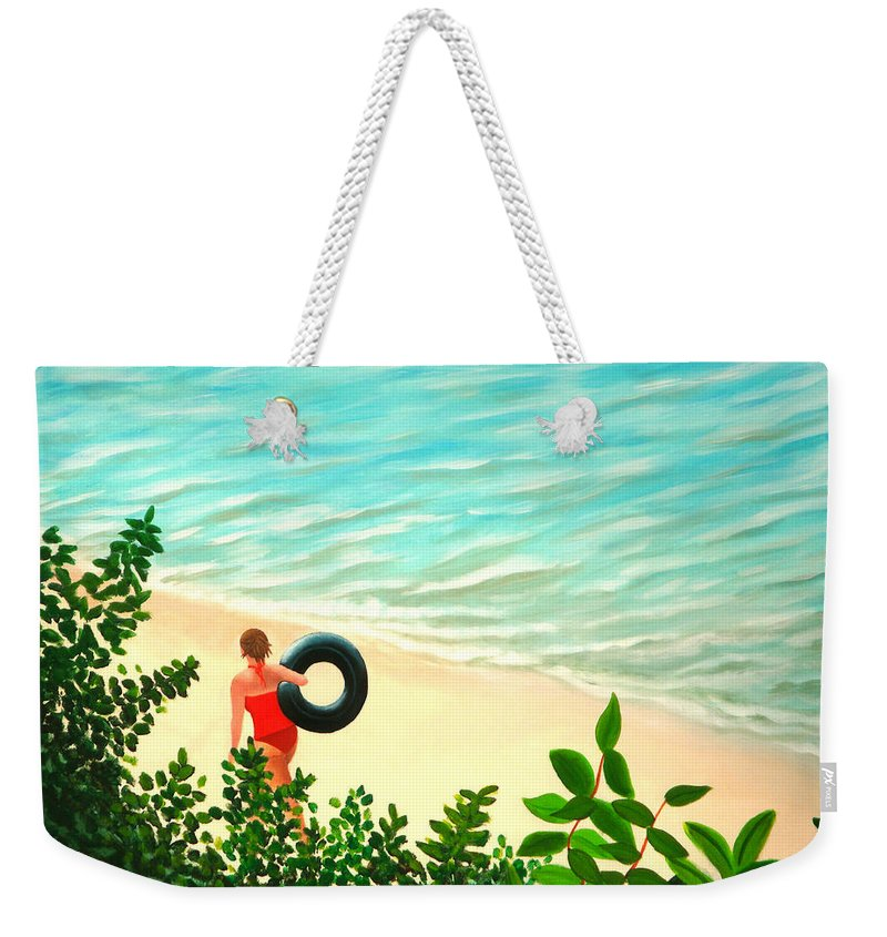 Summer Weekender Tote Bag featuring the painting Summer Swim by Liz Boston