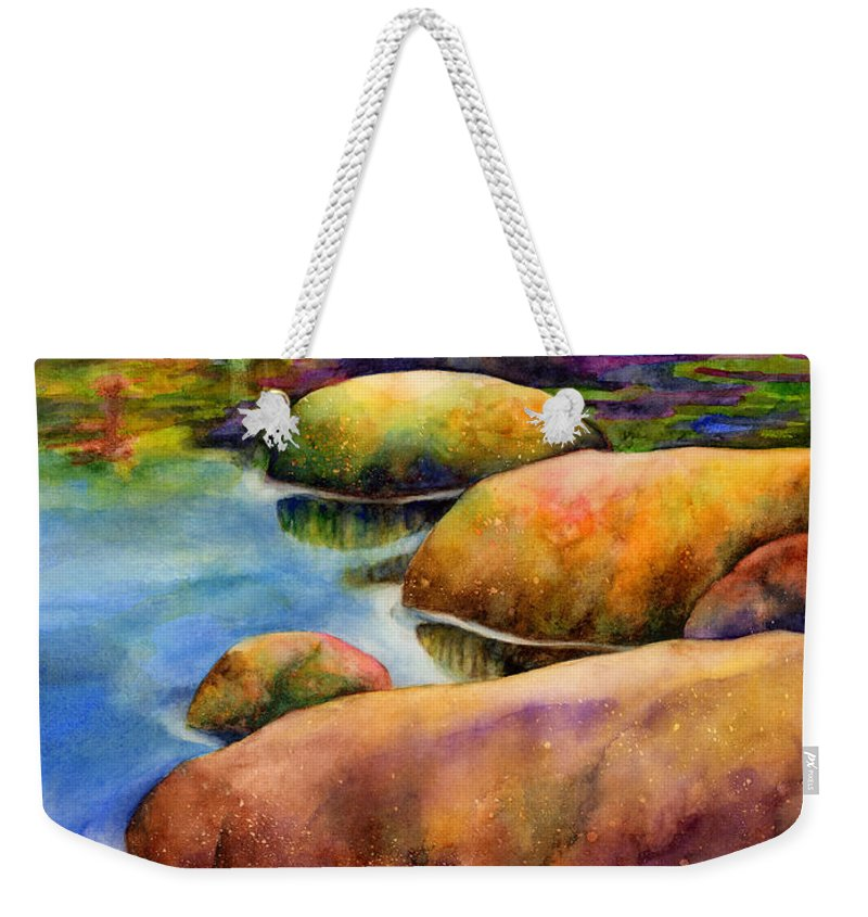Rocks Weekender Tote Bag featuring the painting Summer Tranquility by Hailey E Herrera