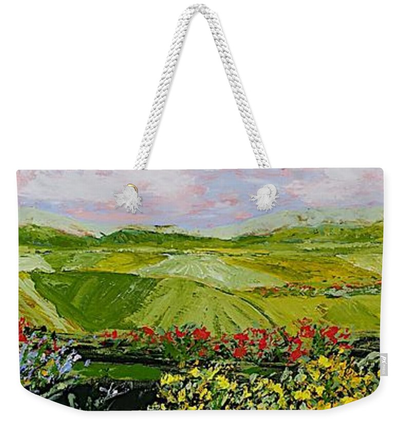 Landscape Weekender Tote Bag featuring the painting Summer Valley by Allan P Friedlander