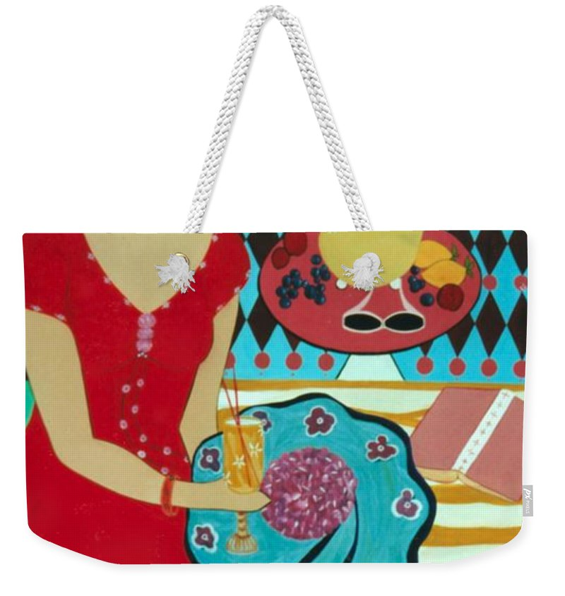 #female Weekender Tote Bag featuring the painting Summers Day by Jacquelinemari