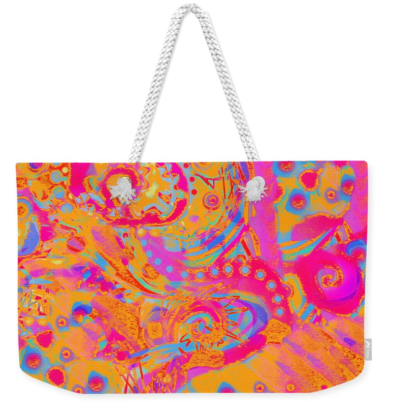 Bright Colorful Abstract Artwork Cheerful And Light Hearted Weekender Tote Bag featuring the painting Summertime by Expressionistart studio Priscilla Batzell