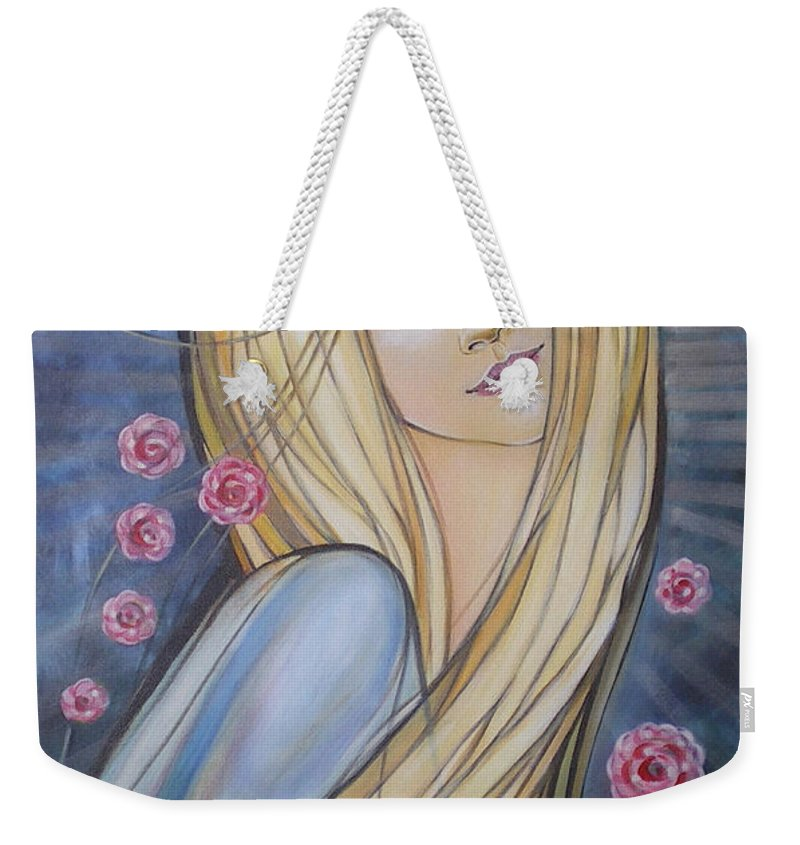 Female Weekender Tote Bag featuring the painting Sun And Roses 081008 by Selena Boron