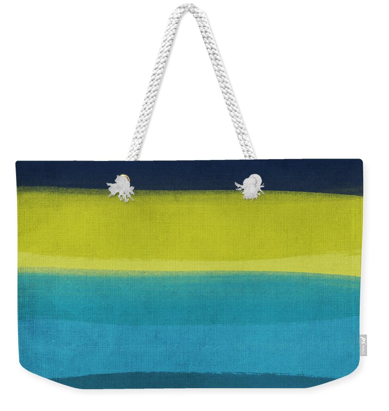 Abstract Weekender Tote Bag featuring the painting Sun And Surf by Linda Woods