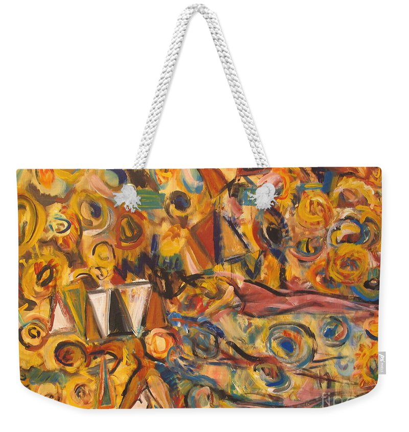 Land Scape Weekender Tote Bag featuring the painting Sun- Bathing Among Yellow Roses by Fereshteh Stoecklein