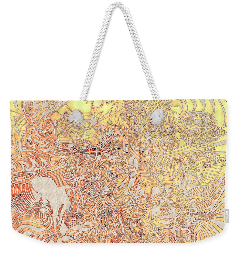 Abstract Seacorc Weekender Tote Bag featuring the painting Sun Cow by Sean Corcoran