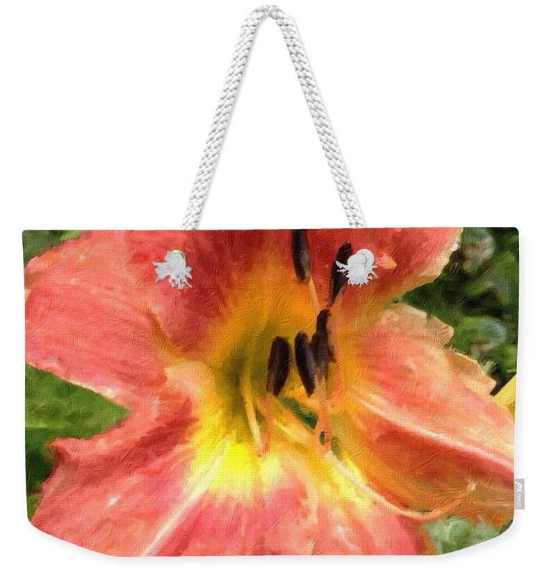 Daylilly Weekender Tote Bag featuring the photograph Sun Day Lilly by John Duplantis
