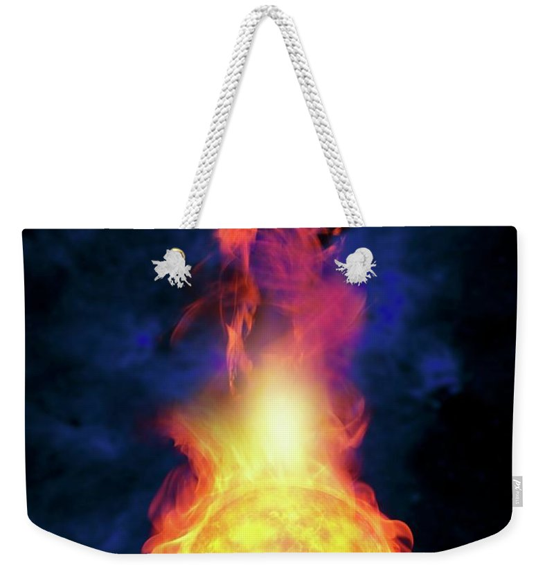 Solar System Weekender Tote Bag featuring the digital art Sun Engulfing The Earth, Artwork by Victor Habbick Visions