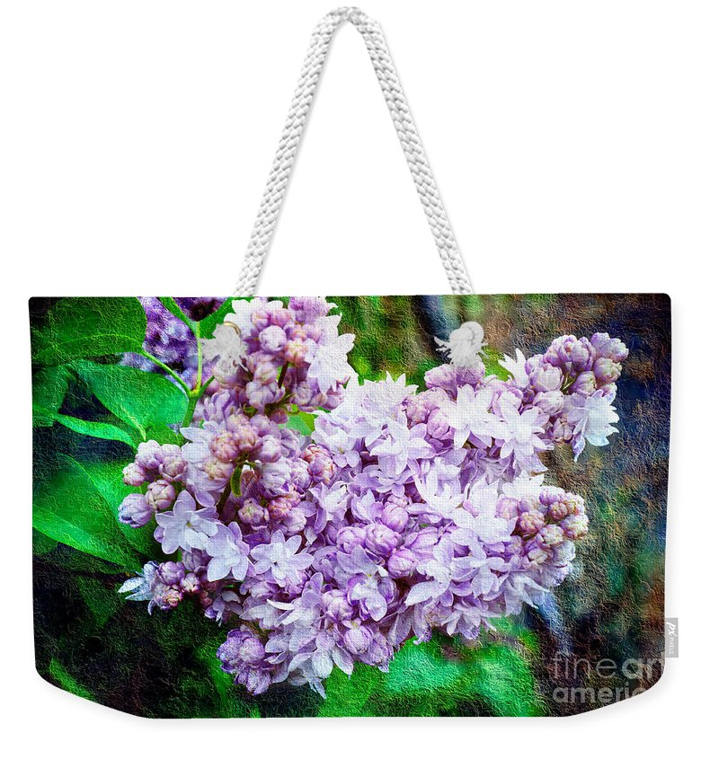 Lilac Weekender Tote Bag featuring the photograph Sun Lit Lilac The Sweet Sign Of Spring by Andee Design