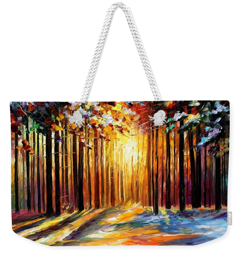 Leonid Afremov Weekender Tote Bag featuring the painting Sun Of January - PALETTE KNIFE Landscape Forest Oil Painting On Canvas By Leonid Afremov by Leonid Afremov