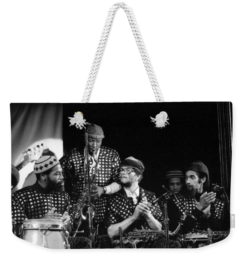 Jazz Weekender Tote Bag featuring the photograph Sun Ra Arkestra With John Gilmore by Lee Santa