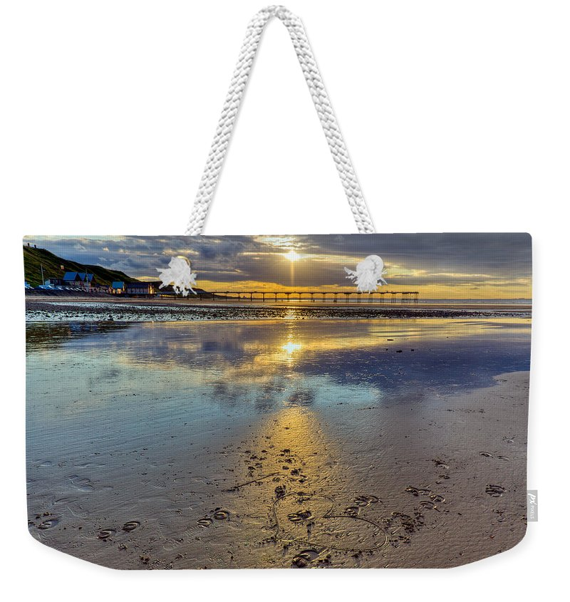 Sunset Weekender Tote Bag featuring the photograph Sun Ray Sunset Saltburn by Gary Eason