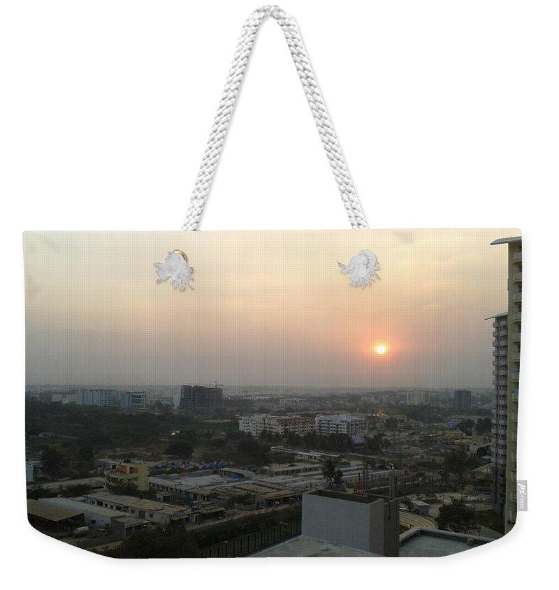 Sunset Weekender Tote Bag featuring the photograph Sun Set by Artist Nandika Dutt