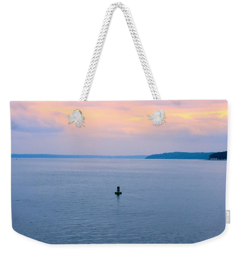 Puget Sound Weekender Tote Bag featuring the photograph Sun Setting Over Puget Sound by Cathy Anderson