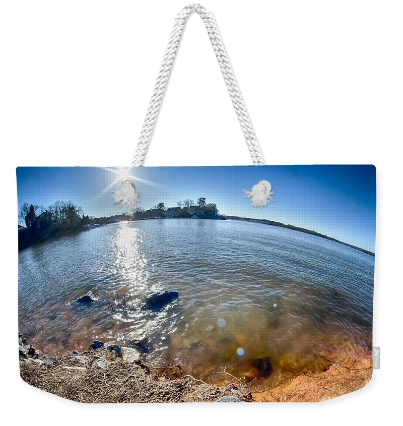 Sun Weekender Tote Bag featuring the photograph Sun Shining Over Lake Wylie In North Carolina by Alex Grichenko