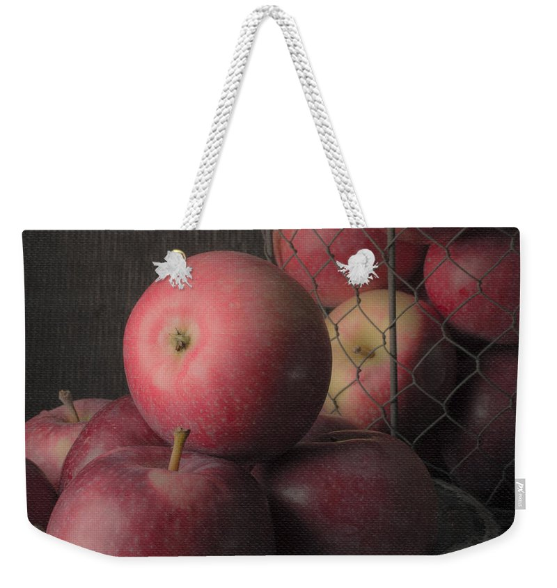 Fruit Weekender Tote Bag featuring the photograph Sun Warmed Apples Still Life Square by Edward Fielding